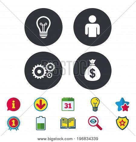 Business icons. Human silhouette and lamp bulb idea signs. Dollar money bag and gear symbols. Calendar, Information and Download signs. Stars, Award and Book icons. Light bulb, Shield and Search