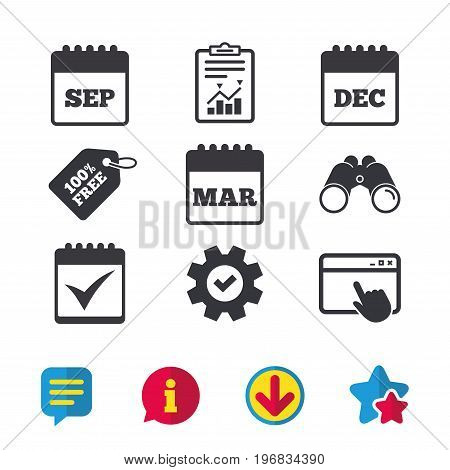 Calendar icons. September, March and December month symbols. Check or Tick sign. Date or event reminder. Browser window, Report and Service signs. Binoculars, Information and Download icons. Vector