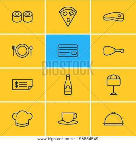 Editable Pack Of Alcohol, Account, Bacon And Other Elements.  Vector Illustration Of 12 Restaurant Icons.