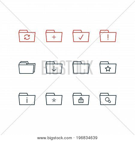Editable Pack Of Information, Closed, Folders And Other Elements.  Vector Illustration Of 12 Dossier Icons.