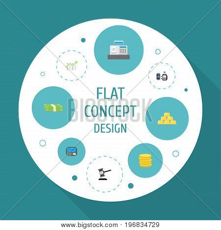 Flat Icons Bar Diagram, Small Change, Cash Stack And Other Vector Elements