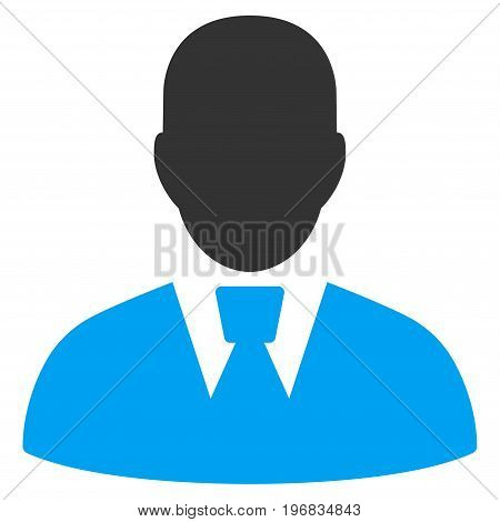 Manager vector icon. Style is flat graphic bicolor symbol, blue and gray colors, white background.