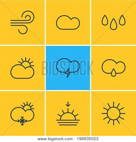 Editable Pack Of Fulminant, Sunny, Cloudy And Other Elements.  Vector Illustration Of 9 Atmosphere Icons.