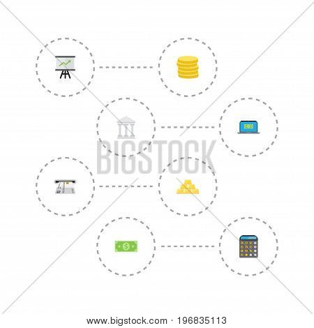 Flat Icons Bank, Teller Machine, Money And Other Vector Elements