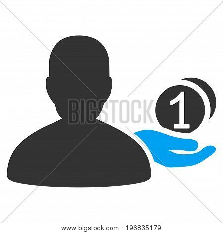 Panhandler vector icon. Style is flat graphic bicolor symbol, blue and gray colors, white background.