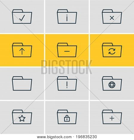 Editable Pack Of Recovery, Dossier, Plus And Other Elements.  Vector Illustration Of 12 Folder Icons.