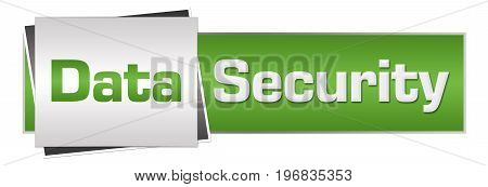 Data security text written over green grey background.