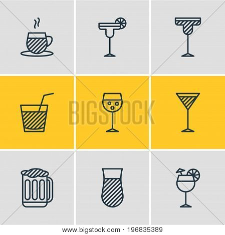 Editable Pack Of Draught, Beverage, Margarita And Other Elements.  Vector Illustration Of 9 Beverage Icons.