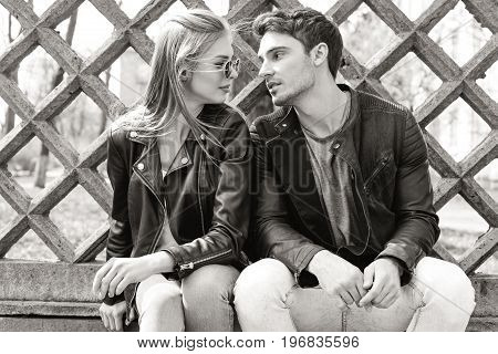 Black And White Portrait Of Stylish Couple In Love Looking At Each Other