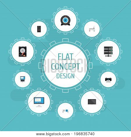 Flat Icons Display, Router, System Unit And Other Vector Elements