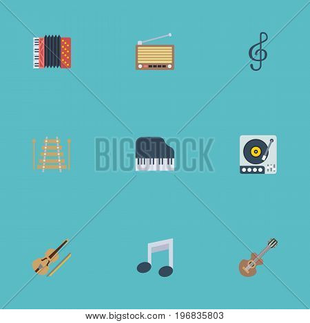 Flat Icons Harmonica, Radio, Quaver And Other Vector Elements