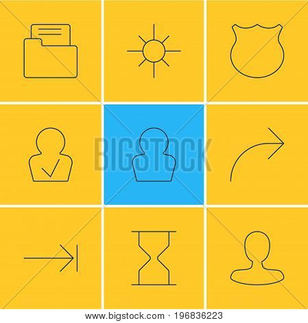 Editable Pack Of Tabulation Button, Dossier, Share And Other Elements.  Vector Illustration Of 9 User Icons.
