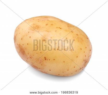 A close-up picture of a whole single peeled potato isolated over the white background. A light and brown potato full of healthy starch. Carbohydrate and nutritious ingredients.