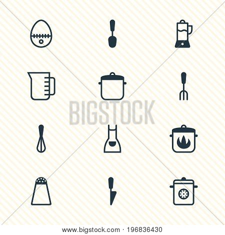 Editable Pack Of Corolla, Smock, Fruit Squeezer And Other Elements.  Vector Illustration Of 12 Cooking Icons.