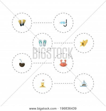 Flat Icons Cancer, Shell, Cocos And Other Vector Elements