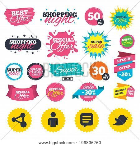 Sale shopping banners. Human person and share icons. Speech bubble symbols. Communication signs. Web badges, splash and stickers. Best offer. Vector