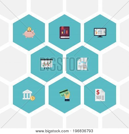 Flat Icons Card, Paper, Moneybox And Other Vector Elements