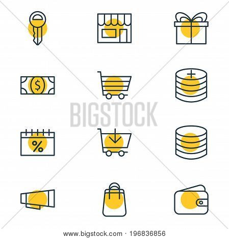 Editable Pack Of Clef, Buy, Pocketbook And Other Elements.  Vector Illustration Of 12 Wholesale Icons.