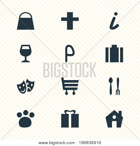 Editable Pack Of Present, Handbag, Cafe Elements.  Vector Illustration Of 12 Travel Icons.