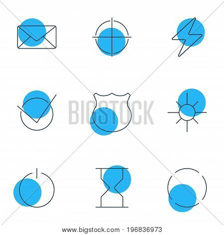 Editable Pack Of Guard, Positive, Sunshine And Other Elements.  Vector Illustration Of 9 UI Icons.