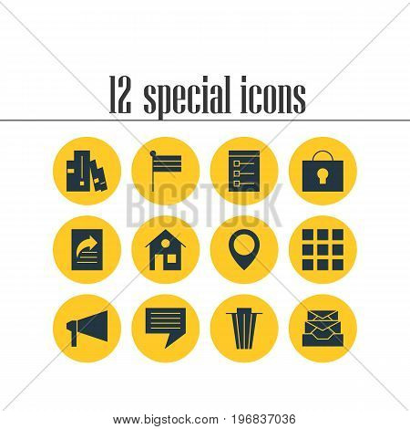 Editable Pack Of Map Pointer, Bookshelf, Map Marker And Other Elements.  Vector Illustration Of 12 Web Icons.