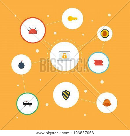 Flat Icons Explosive, Clue, Armored Car And Other Vector Elements