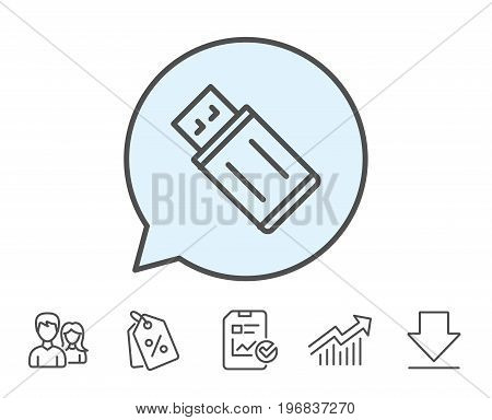 USB flash drive line icon. Memory stick sign. Portable data storage symbol. Report, Sale Coupons and Chart line signs. Download, Group icons. Editable stroke. Vector
