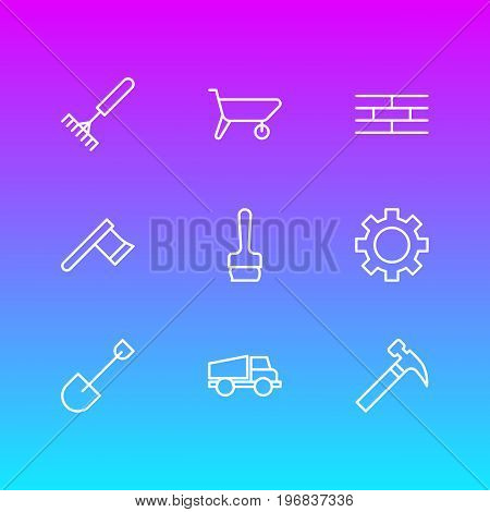 Editable Pack Of Hatchet, Handcart, Spade Elements.  Vector Illustration Of 9 Structure Icons.