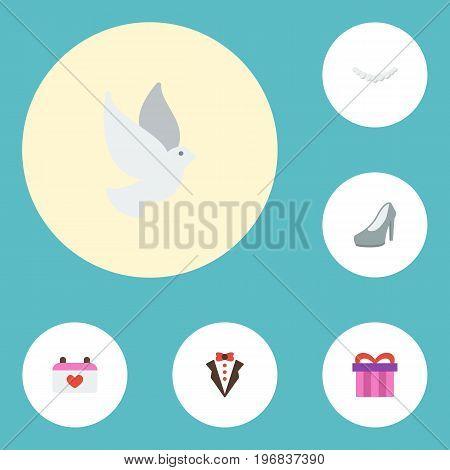 Flat Icons Sandal, Bridegroom Dress, Calendar Vector Elements