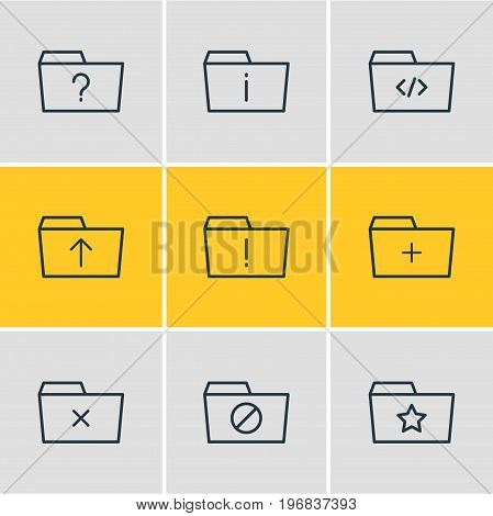 Editable Pack Of Script, Pinned, Important And Other Elements.  Vector Illustration Of 9 Folder Icons.