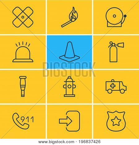 Editable Pack Of Taper, Spike, Badge And Other Elements.  Vector Illustration Of 12 Emergency Icons.