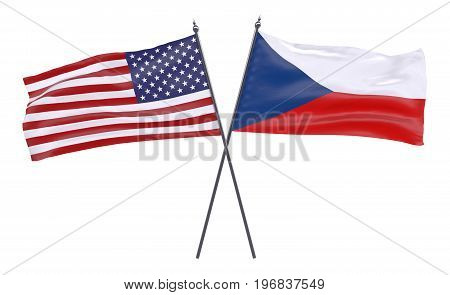 USA and Czech Republic, two crossed flags isolated on white background. 3d image