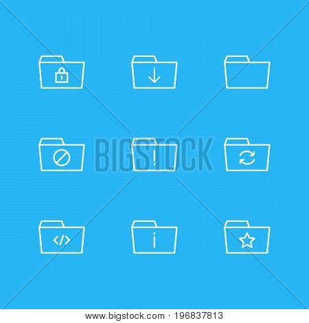 Editable Pack Of Upload, Recovery, Closed And Other Elements.  Vector Illustration Of 9 Folder Icons.