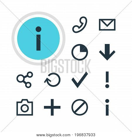 Editable Pack Of Stopwatch, Letter, Access Denied And Other Elements.  Vector Illustration Of 12 Interface Icons.