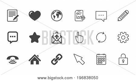 Mail, contact icons. Favorite, like and internet signs. E-mail, chat message and phone call symbols. Chat, Report and Calendar line signs. Service, Pencil and Locker icons. Click, Rotation and Cursor