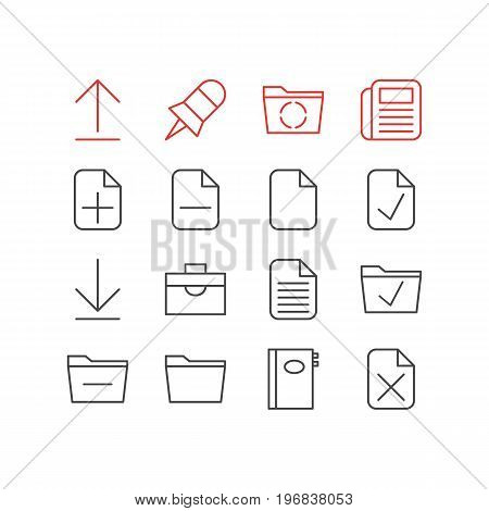 Editable Pack Of Journal, Deleting Folder, Install And Other Elements.  Vector Illustration Of 16 Bureau Icons.