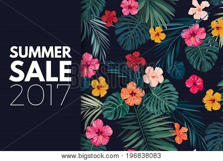 Summer colorful hawaiian flyer design with tropical palm leaves and hibiscus flowers, vector illustration