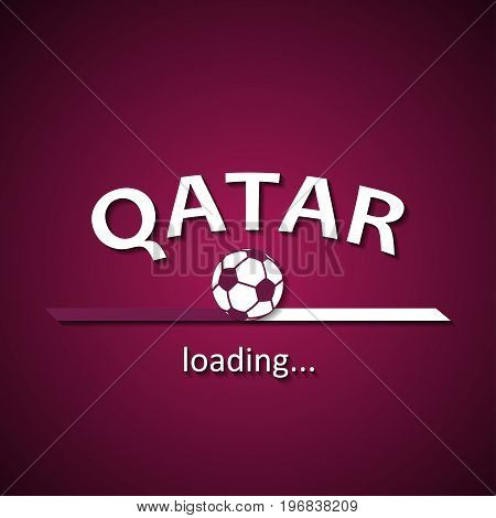Qatar soccer loading bar - football inscription background for the World Championship and local premier league