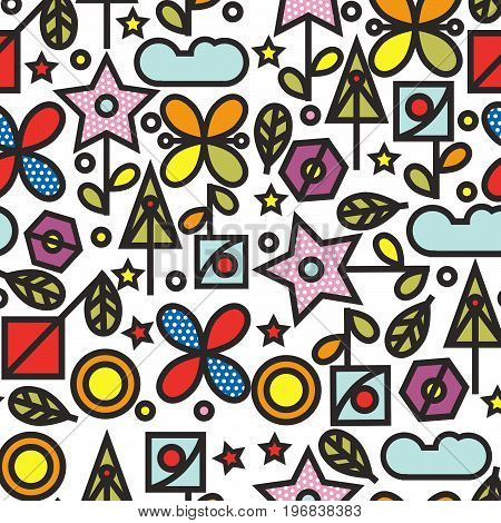 Doodle style seamless pattern with flowers and other nature elements.Vector