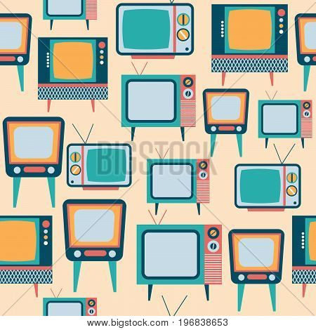 seamless pattern with retro tv vector format
