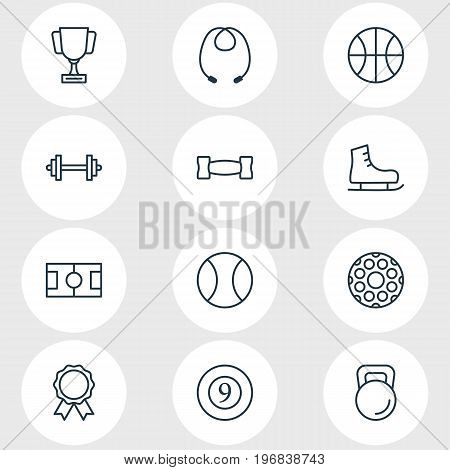 Editable Pack Of Ice Boot, Barbell, Goblet And Other Elements.  Vector Illustration Of 12 Fitness Icons.