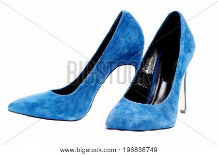 Fancy Blue Suede Shoes Isolated On White Background, Close Up