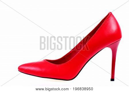Formal Red Leather High Heel Shoe, Side View
