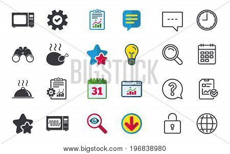 Microwave grill oven icons. Cooking chicken signs. Food platter serving symbol. Chat, Report and Calendar signs. Stars, Statistics and Download icons. Question, Clock and Globe. Vector