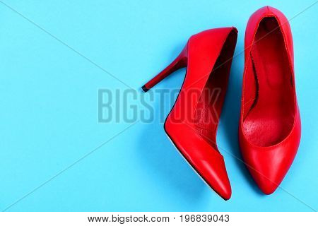 Fashion And Beauty Concept: Pair Of Red High Heel Shoes