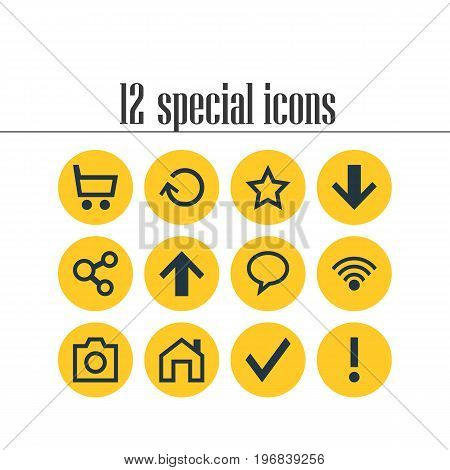 Editable Pack Of Asterisk, Confirm, Downward And Other Elements.  Vector Illustration Of 12 Interface Icons.