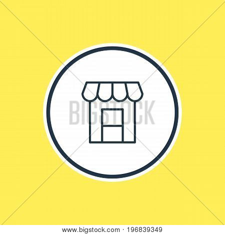 Beautiful Infrastructure Element Also Can Be Used As Awning Element.  Vector Illustration Of Storefront Outline.