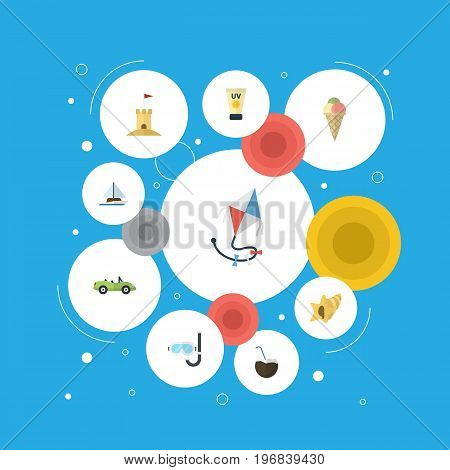 Flat Icons Castle, Shell, Fly And Other Vector Elements