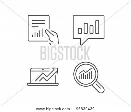 Analysis, Statistics line icons. Chart, Report and Audit signs. Data Speech bubble and Presentation symbols. Quality design elements. Editable stroke. Vector