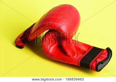 Concept Of Active Lifestyle With Pair Of Red Boxing Gloves